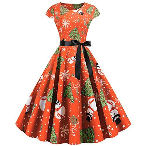 Auiyut Damen Retro Cocktailkleid Weihnachten Kleid Swing Kleider Faltenrock Überwurfhülse mit Schärpen Rockabilly Kleid A Linie Kleid Vintage 50er Kleid Weihnachten Gedruckt Party Kostüm