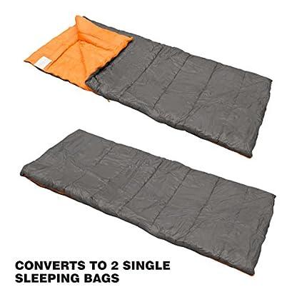 Milestone Camping Unisex's 26750 Envelope Sleeping Bag 3 Season Double Insulation Grey & Orange, Grey 5