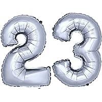 DekoRex® número globo decoración cumpleaños brillante para aire en argentado 40cm de alto No. 23