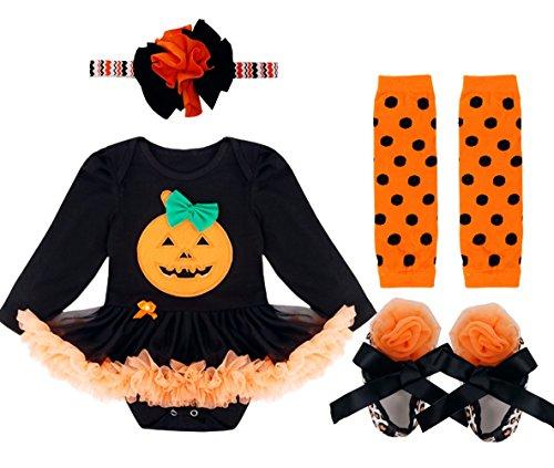 iiniim Neugeborenes Baby Mädchen 4tlg.Bekleidungsset Strampler Halloween Kürbisse Kurzarm/Langarm Shirt + 1 Stirnband + 1 Beinwärmer + Schuhe Orange+Schwarz L(68-74/6-9 (Kostüme Halloween Kleid Tank)
