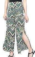 X-Future Womens Beachwear Print Side Slit Wide Leg Palazzo Pant Chiffon Trouser 4 XS