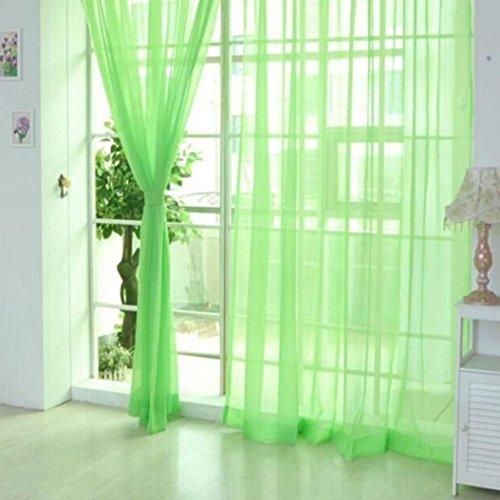 2x einfarbiger Tüllvorhang von pu ran, für Türen, Fenster, Vorhangtuch, Streifen, durchsichtige Volants, Stoff, grün, M (Vorhänge Grüne Streifen)