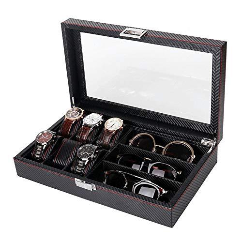 wall-8-CC 6 Schwarze Leder-Aufbewahrungsbox für Uhren und 3 Brillen und Sonnenbrillen