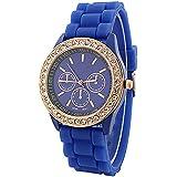Fashion Silicone Golden Crystal Stone Quartz Ladies Jelly Wrist Watch Dark Blue