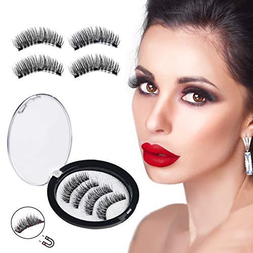 Magnetische Wimpern, 3D Wimpern, METALBAY Falsche Wimpern Künstliche Wimpern mit 3 Magnete Echthaarwimpern False Eyelashes Wiederverwendbare Wasserdicht