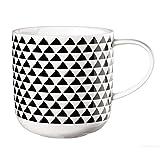 ASA Selection Coppa Henkelbecher, Becher, Tasse, Kaffeebecher, Kaffeetasse, Fine Bone China, Schwarz / Weiß, 19117014