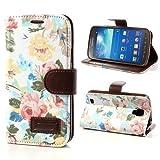 NALIA Klapphülle für Samsung Galaxy S4 Active, Hülle Slim Flip-Case Kunst-Leder Vegan, Etui Schutzhülle Book-Case, Dünne Vorne Hinten Handy-Tasche Wallet Bumper für Samsung S4 Active - Flowers Weiß