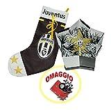 marcello55–Angebot–Kit Juventus: Baumspitze Stern mit Logo Juve mit Girlande und Behälter weiß schwarz + Nikolausstrumpf weiß schwarz mit Logo Juve