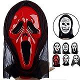 NAttnJf Máscara de Cara Completa Miedo Espeluznante Disfraz de Halloween Evil Creepy Party Horror Lengua roja