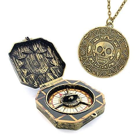 boussole jouet pirate et collier avec les Aztèques pièce d'or aztèque remorques costume d'Halloween Buccaneer pirate Pirates des pirates des Caraïbes pirates des Caraïbes capitaine