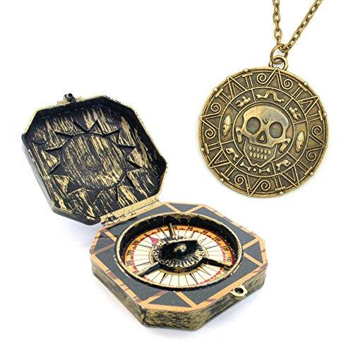 Piraten Spielzeug Kompass und Halskette mit Aztekengold Münze Azteken Anhänger für Pirat Kostüm Halloween Freibeuter Fluch der Karibik Seeräuber Karibik Pirat Kapitän (Piraten Kostüme)