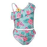 FEESHOW Kinder Mädchen Floral 2 tlg. Badeanzug Einschulter Design Swimmwear Strand Tops mit Badehose Tankini Outfits Gr.86-140 Hellgrün 134-140 / 9-10 Jahre