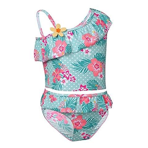FEESHOW Kinder Mädchen Floral 2 tlg. Badeanzug Einschulter Design Swimmwear Strand Tops mit Badehose Tankini Outfits Gr.86-140 Hellgrün 122-128 / 7-8