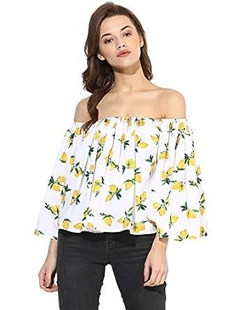 Ahalyaa Summer Lemon Print Ruffled Off Shoulder Top for Women