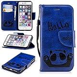 Misteem Cartoon Coque pour iPhone 6 6S, Mignon Retro Panda Motif en Cuir Bookstyle/Stand/ Magnetique Wallet Cover de Protection pour iPhone 6 6S 4.7 Pouces - Panda Bleu