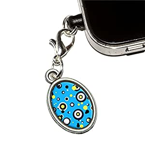 Kreise Dots blau gelb Handy Jack Anti-Staub Oval Charm für iPhone iPod Galaxy
