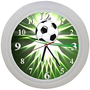 ✿ Kinderwanduhr in 4 Farben ✿ FUSSBALL football FUßBALL 5 Verein✿ Wanduhr ✿ Kinderuhr ✿ KEIN TICKEN ✿ mit/ohne Name