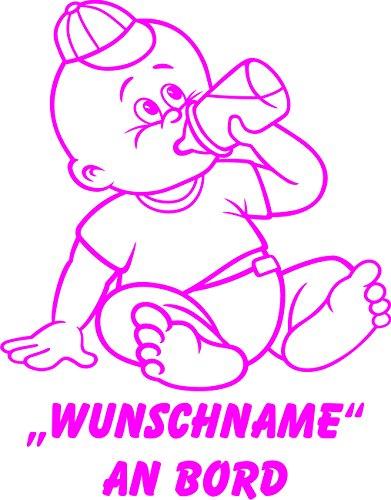 INDIGOS UG - Babyaufkleber / Kinderaufkleber 067 mit Wunschname / Wunschtext an Bord ca. 20 cm Höhe - Autoaufkleber in verschiedenen Farben