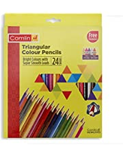 Camlin Triangular Colour Pencil Set with Sharpener - Pack of 24 (Multicolour)