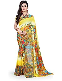 Anand Sarees Women's Faux Georgette Printed Yellow Color With Blouse Piece (1371)