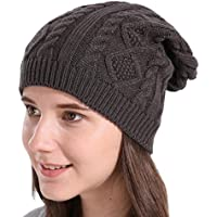 ASHOP Sombrero de Mujer, Mujeres Baggy Caliente Invierno Lana Knit Ski Beanie Caps Hat (Gris)