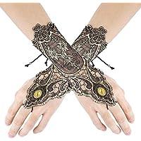 Gothic Armstulpen Lange Spinnennetz Handschuhe schwarz Spinne Halloween Stulpen