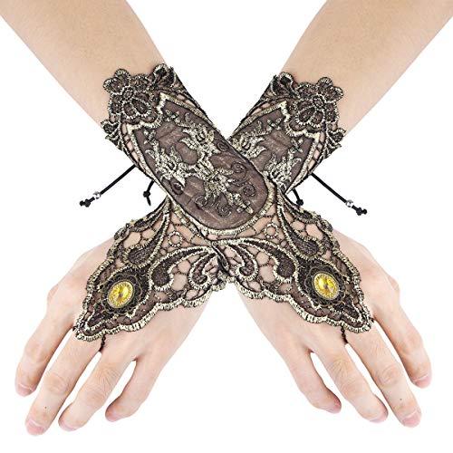 Agoky Handstulpen mit Stickerei und Perlen schwarz Armstulpen Handschuhe Stulpen Hochzeit Braut Handschuhe Fingerlos Halloween Kostüm Zubehör