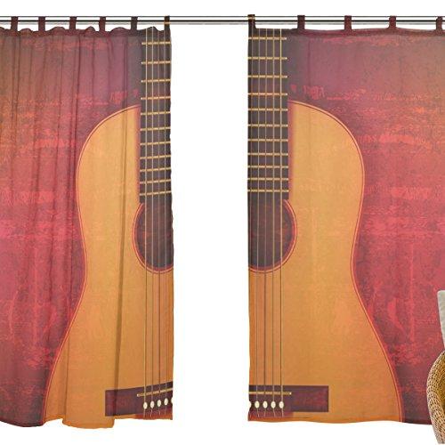 jstel 2pezzi Voile tenda di finestra, Vintage Musica Strumento Chitarra, Tulle Sheer Curtain Drape Valance 139,7x 198,1cm Set di due pannelli
