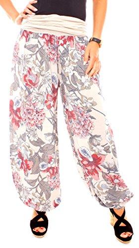 Fragolamoda Damen Print Aladin Sommerhose Pluderhose Harem-Stil Gemustert Blumen Muster Großblumig Beige -
