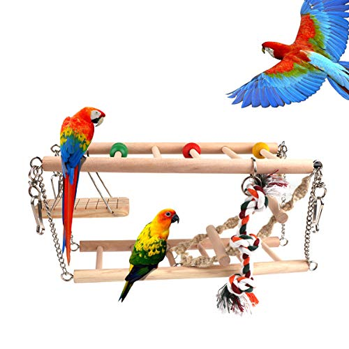 RCruning-EU Vogelspielzeug Hängebrücke Natur Sitzstangen Vogelschaukel Kletterleiter aus Holz für den Käfig Vogelkäfig Zubehör für Vögel Papageien