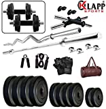 #4: Klapp 20 Kg & 24 Kg PVC Home Gym Set With Leather Gym Bag & Accessories …