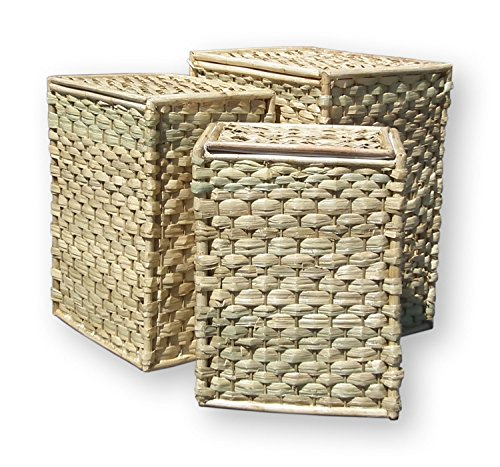 51zfD18QNqL - BEST BUY# Set of 3 Lidded Sea Grass Laundry Baskets White Fabric Lined Rectangular w/ Lid Reviews and price compare uk
