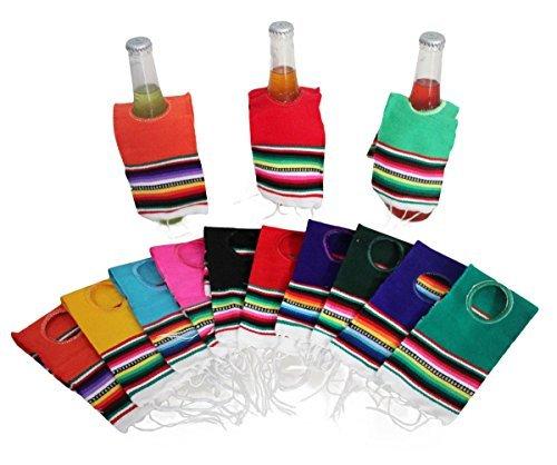 Del Mex 10Pack Mini mexikanischen SARAPE Poncho Bier Flasche Getränk Cover sortiert -
