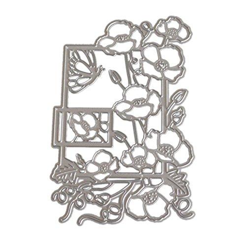 JiaMeng Troqueles Scrapbooking, Troqueles de Corte de Metal de Coraz¨n de Flor Rectangular Acero al Carbono Plantillas para de Recortes de Scrapbooking Tarjeta de Papel (H, como se Muestra)