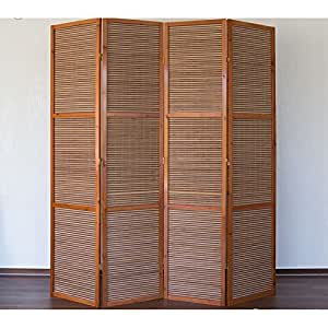 Paravent 4 panneaux marron en bois et bambou 172x200 cm PAR06050