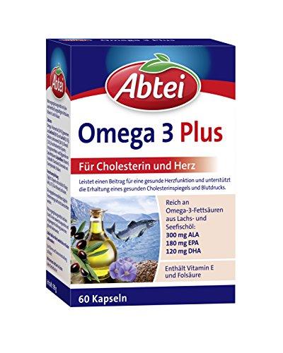 Abtei Omega-3-6-9 Lachsöl und Leinöl plus Olivenöl 60 Kapseln, für Cholesterin und Herz, 1er Pack (1 x 60 Kapseln) (Omega-3-plus)