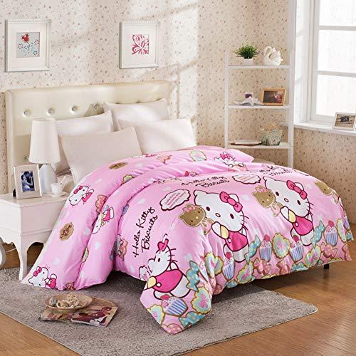 XMZDDZ Baumwolle-einfache Bettbezug,Druck einfarbig Bettwäscheset Verdicken bettwäsche,Einzelne plissee Bettbezug Mit reißverschluss -6 180x220cm(71x87inch) -