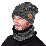 Opard Wintermütze Warm Beanie Strickmütze und Schal mit Fleecefutter (Grau)