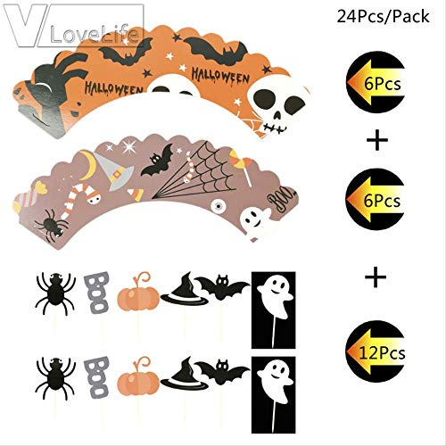Halloween Cake Topper Und Umgebung Backen Dekor Liefert Kuchen Flaggen Gadgets Hexenhut Spinnennetz Fledermaus Geist Kürbis ()