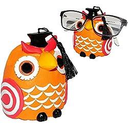 """Brillenhalter - """" Eule - orange """" - universal Größe - stabil aus Kunstharz - für Kinder & Erwachsene / Brillenhalterung - Eulen Uhu - Kautz - lustiger Brillenständer - für Sonnenbrille Lesebrille - Brillenablage / Eule Vögel lustige Schule Prüfung - Vögel"""