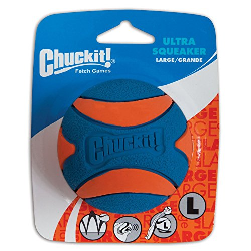 Chuckit! Ultra Squeaker Ball Natural Rubber Dog Toy Large - Pack of 2