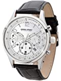 Jorg Gray Signature Collection Men's Quartz Watch with Silver Dial Chronograph Display and Black Leather Strap JGS3560