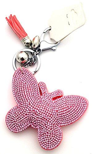 Preisvergleich Produktbild Schmetterling rosa Schlüsselanhänger mit Strass Taschenanhänger Strassanhänger Bommelanhänger Fransen