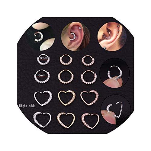 2019 New Arrival1PC CZ Hoop Nasenseptum Ring Herz daith Tragus Cartilage Helix Ohrring-Körper-Schmucksachen, 8mm rund, Silber