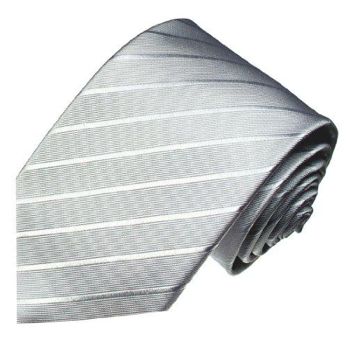 Lorenzo Cana - Silbergraue Überlange Krawatte aus 100% Seide - 165 cm lang - silver silk tie - 8429499