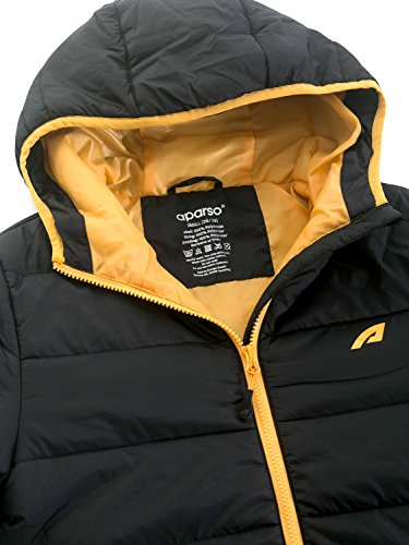 aparso Damen Steppjacke Winterjacke mit Kapuze warm leicht wattiert Schwarz/Honig