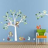 Malilove Schönen Dschungel Tiere Baum Wand Aufkleber Kinderzimmer Dekoration Home Aufkleber Eulen Monkey Fox Wandmalerei Kunst Do-It-Yourself-Poster