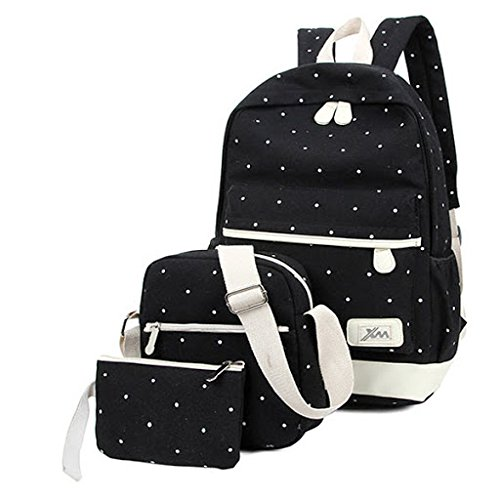 Aeoss Sports Bag Canvas School Bag Backpack College Women's Canvas Outdoors Camping Hiking Waterproof Travel School Bags (Navy Blue) Set Of 3 Pcs