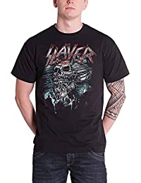 Slayer Mens T Shirt Black Distressed Demon Storm Skeleton Official