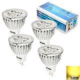 ELINKUME (4 PACK Warm White) 4Watt MR16 LED Bulbs, 20W Halogen Bulb Equivalent, 12V AC/DC,300lm, 60 Degree Beam Angle, 3000K, Spotlight, LED Light Bulbs